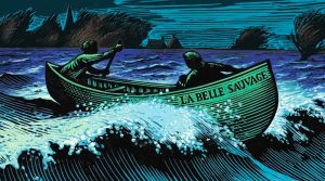 front cover image of The Book of Dust, two figures rowing in a boat over rough seas in the dark